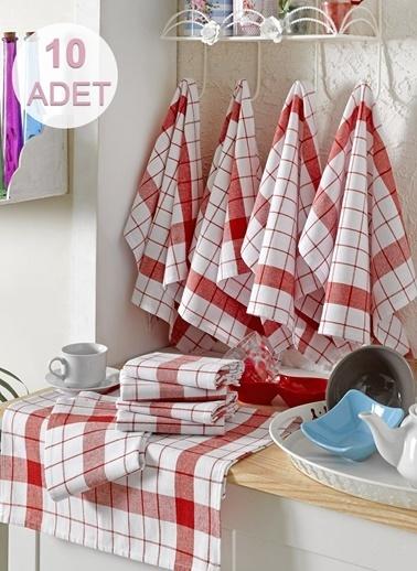 Eponj Home 10lu Kurulama ve Mutfak Peçetesi 46x76Cm Kalın Çizgili  Kırmızı